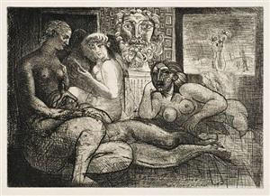 femmes entre elles avec voyeur sculpté clin d'il au bain turc) ) [women together with a sculpted voyeur (a nod to ingres' turkish bath)] by pablo picasso